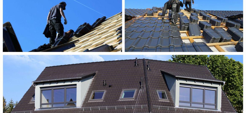 Collage mit verschiedenen Dachdeckerbildern